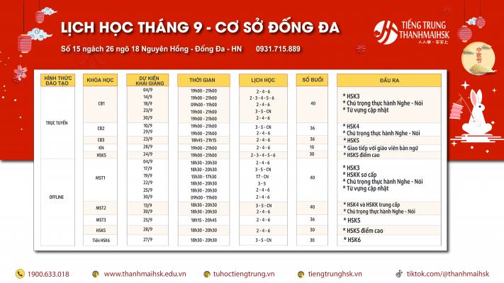 Lịch khai giảng tiếng Trung cơ sở Đống Đa