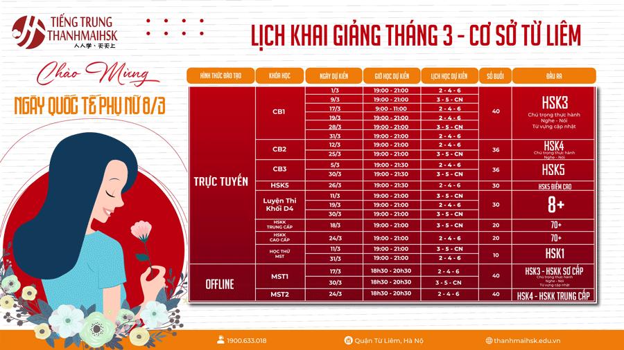 Lịch học tiếng Trung cơ sở Từ Liêm