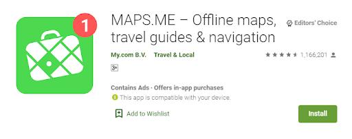 Ứng dụng bản đồ Maps.me