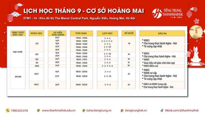 Lịch học Tiếng Trung tháng 9 cơ sở Hoàng Mai