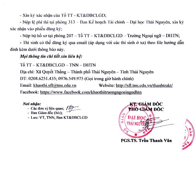 Lịch thi HSK đại học Ngoại ngữ - Đại học Thái Nguyên