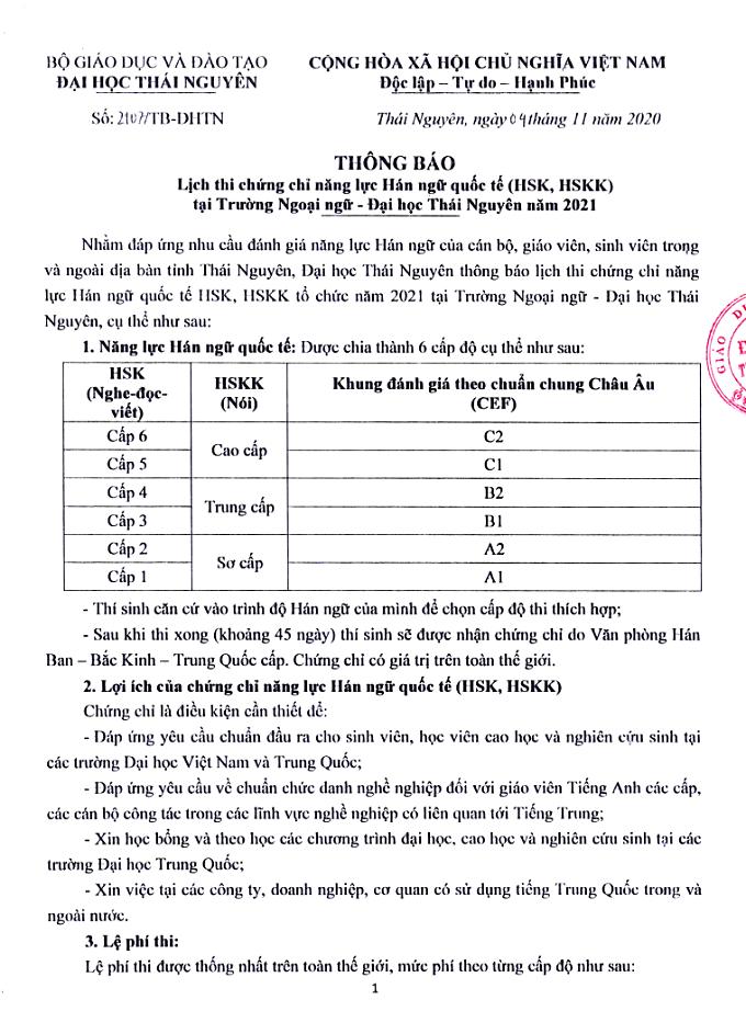 Lịch thi HSK, HSKK đại học Thái Nguyên