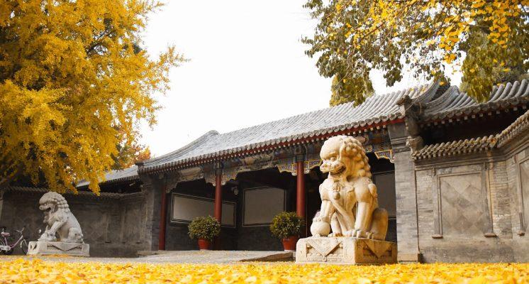 Trước cửa Thanh Hoa Viên được bày trí hai con sư tử