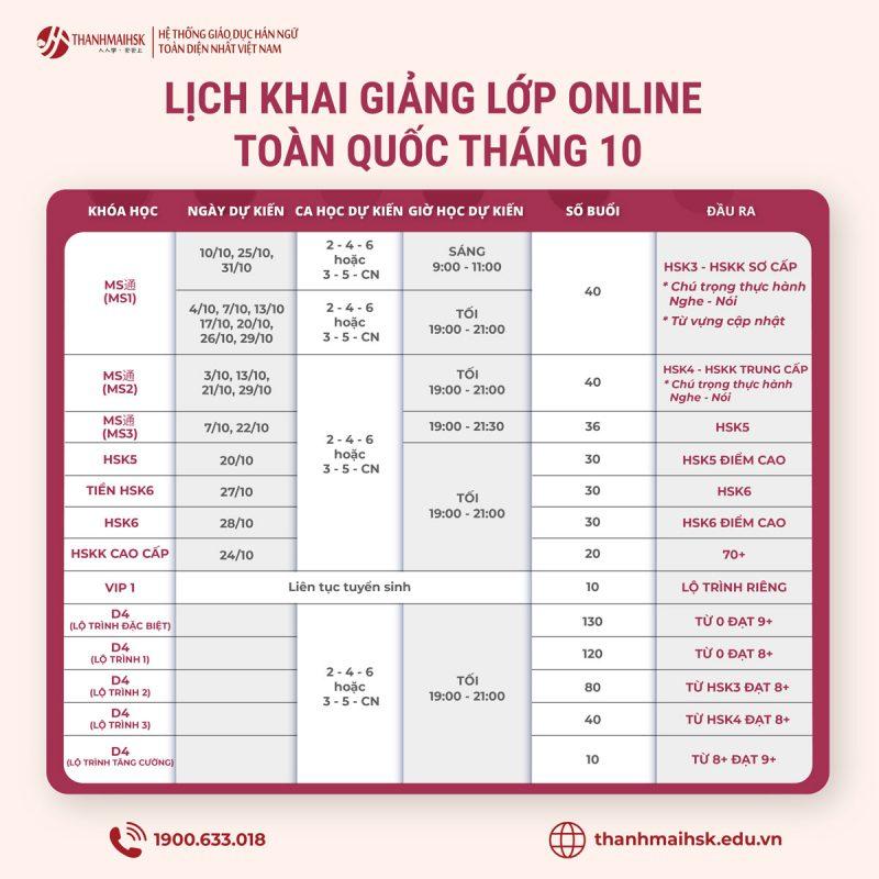 Lịch học tiếng Trung các lớp online (trực tuyến) tháng 10